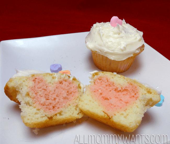 Hidden Heart Valentine Cupcakes