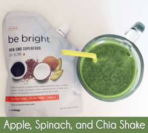 "Recipe: Healthy Apple Spinach Chia Shake Using ""be Bright"" From  Coromega (263 Calories, 6ww Points)"