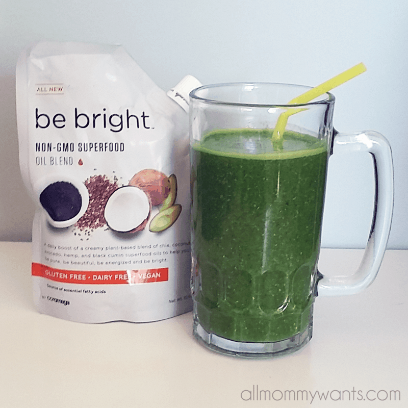 """Recipe: Healthy Apple Spinach Chia Shake Using """"be Bright"""" From  Coromega (263 Calories, 6ww Points)"""