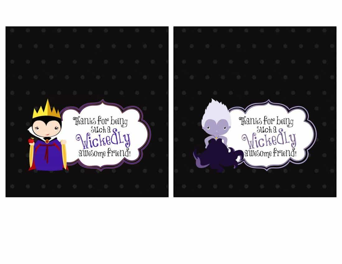 Party Favor Printables – Candy Bar Wrappers Featuring Disney Villains Maleficent & Captain Hook