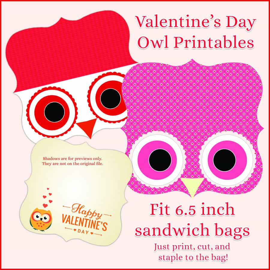 Print These Adorable Owl Valentines And Treat Bag Toppers!