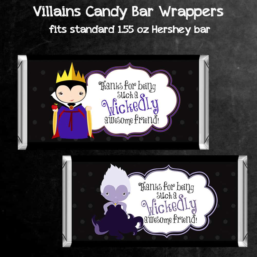Party Favor Printables – Candy Bar Wrappers Featuring Disney Villains Evil Queen & Ursula