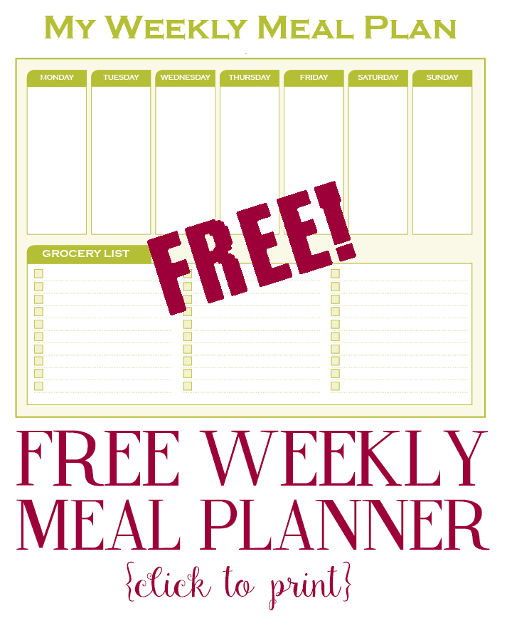 Printable – Weekly Meal Planner With Grocery List