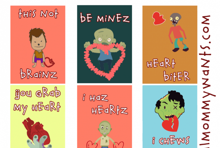 Printable Zombie Valentine Cards You'll Die For!
