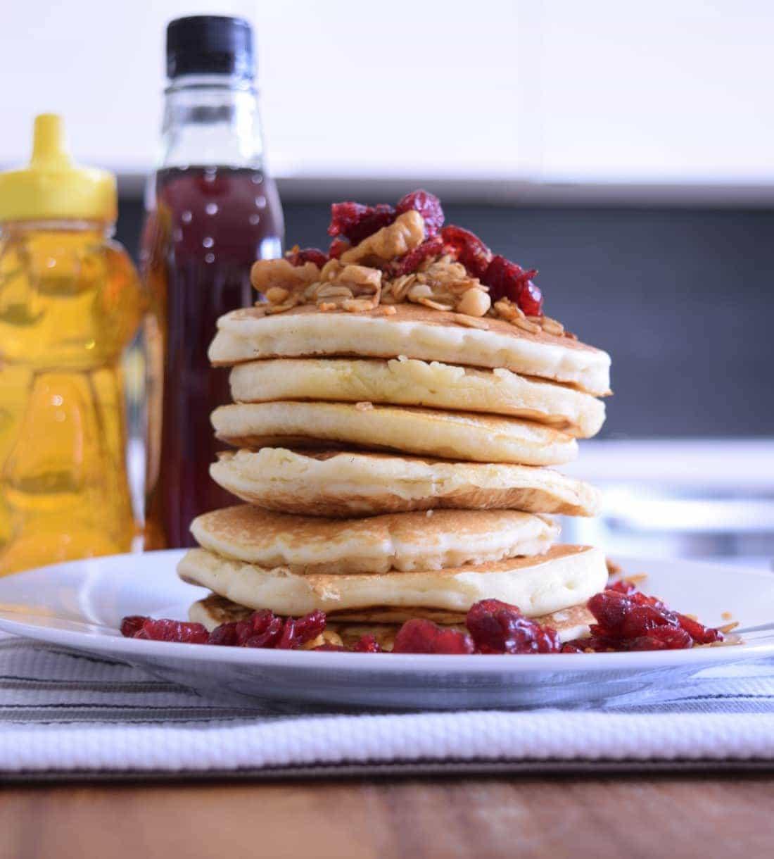 Recipe: Maple Cranberry Granola Pancakes