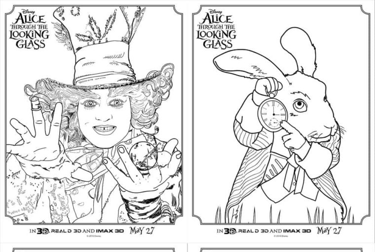 Printables – Alice Through The Looking Glass Coloring Sheets
