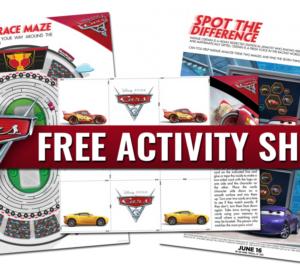 Free Printables – Disney Pixar's Cars 3 Activity Sheets