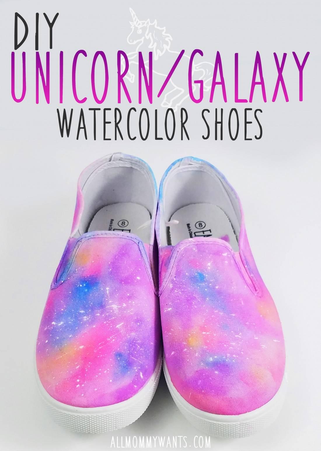 Diy – Unicorn Galaxy Watercolor Shoes Tutorial (video)