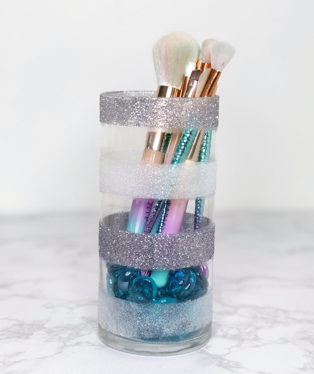 Diy Glitter Makeup Brush Holder