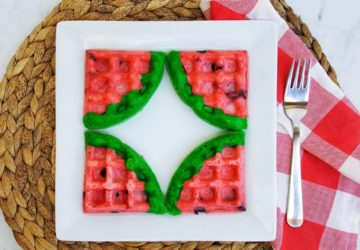 Watermelon Shaped Waffles – Chocolate Chip Waffles From Scratch