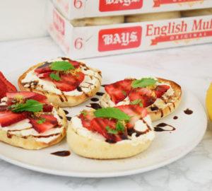 Sweet & Savory Strawberry Ricotta Balsamic English Muffin Bites