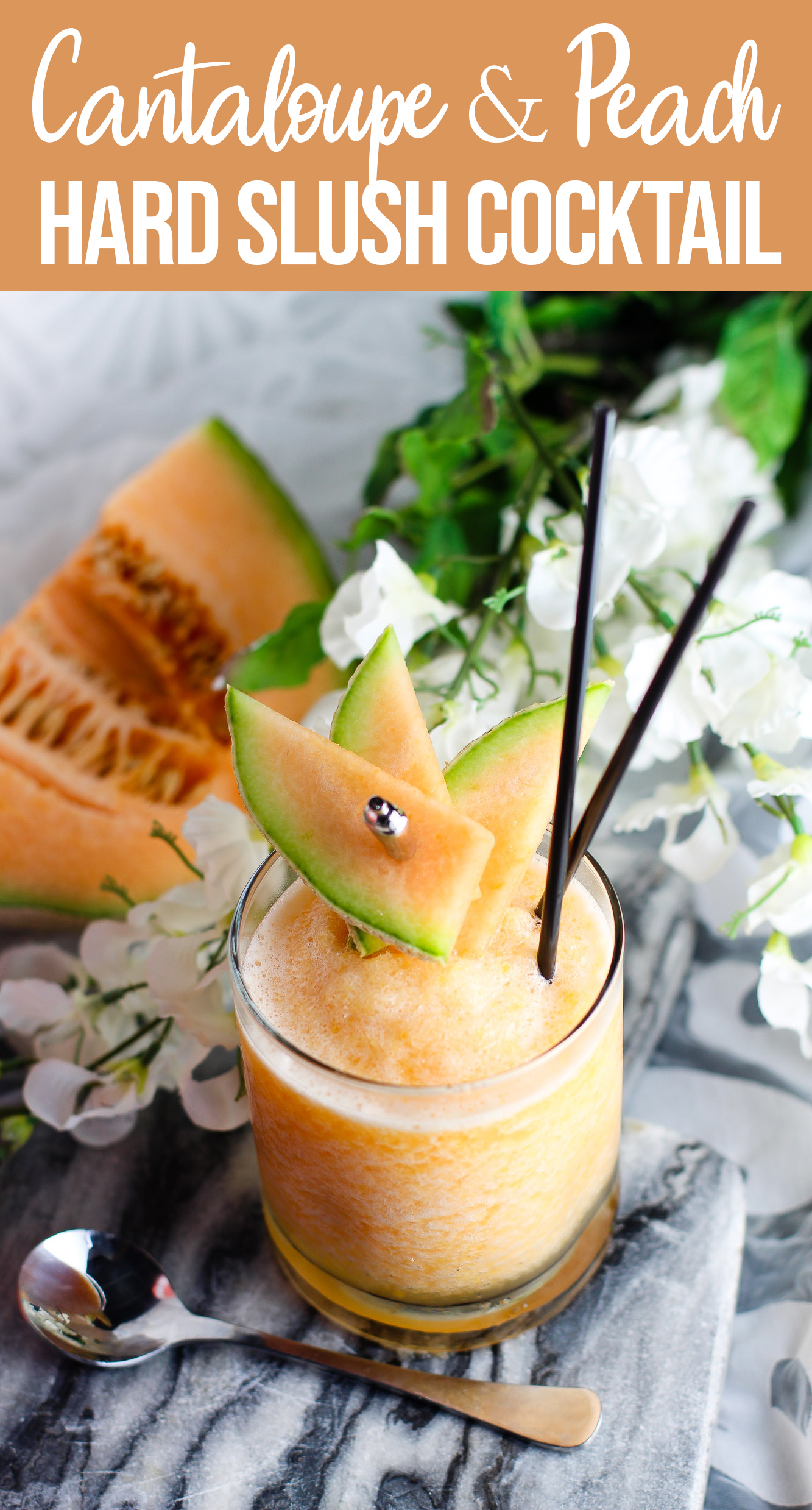 Cantaloupe And Peach Hard Slush Frozen Cocktail