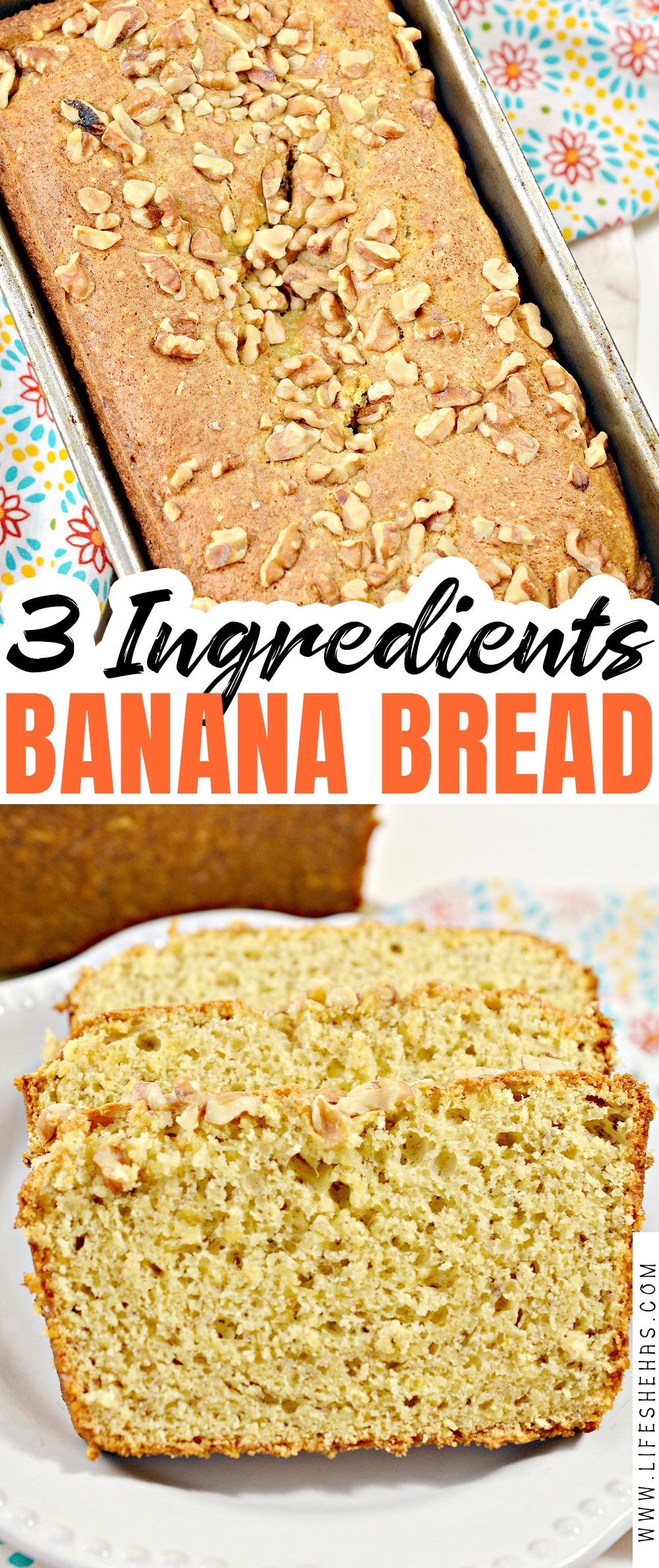 3 ingredient banana bread pin